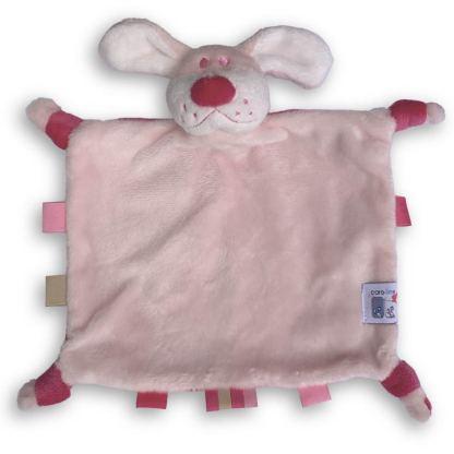 Knuffeltje Roze Hondje met Naam en Geborduurd Figuurtje