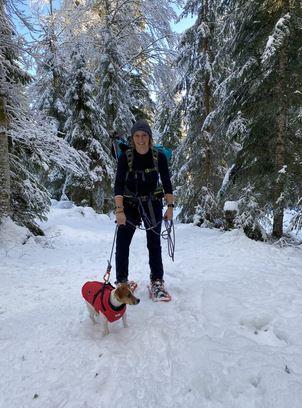 raquettes à neige avec chien