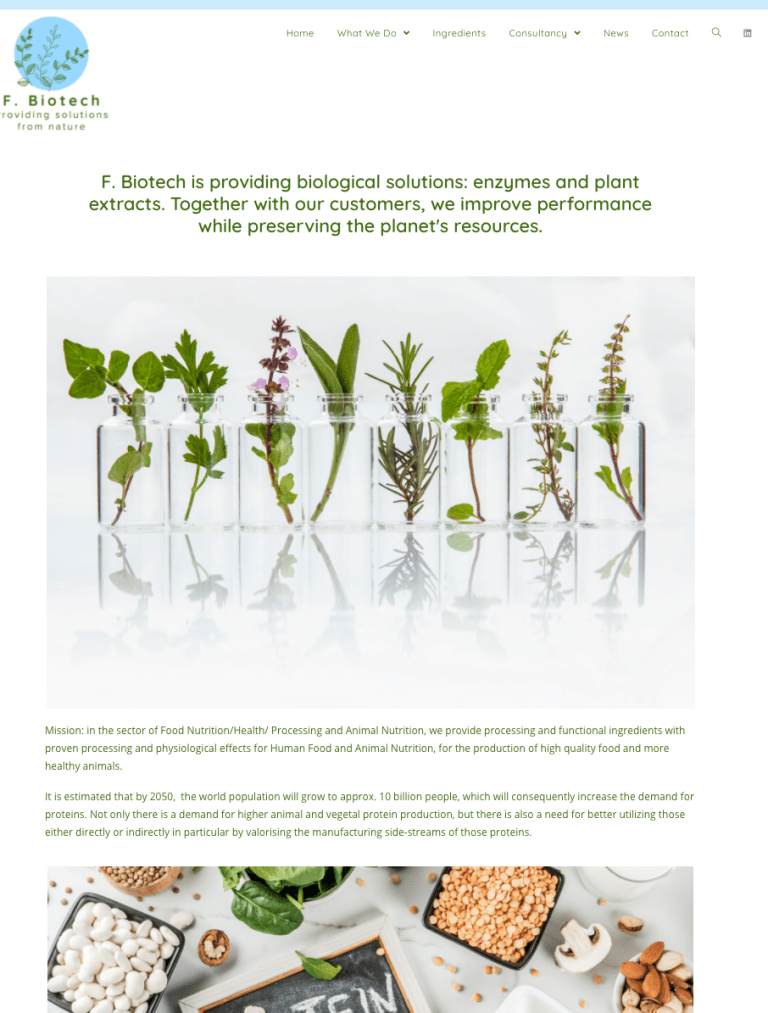 F. Biotech - providing solutions from nature - a website by Image & Images