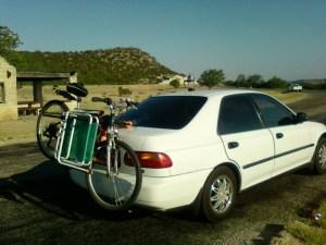 Carola Marashi's new home on wheels. Jime and my bicycle.