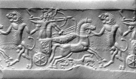 Cylindrical seal with Assyrian war chariot 13th – 12th century BC