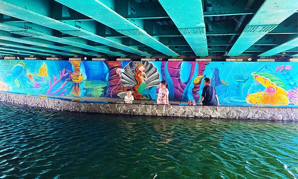 中港大排親水步道 橋下彩繪牆