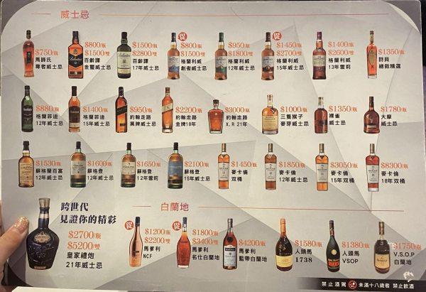 凱悅KTV酒類一覽