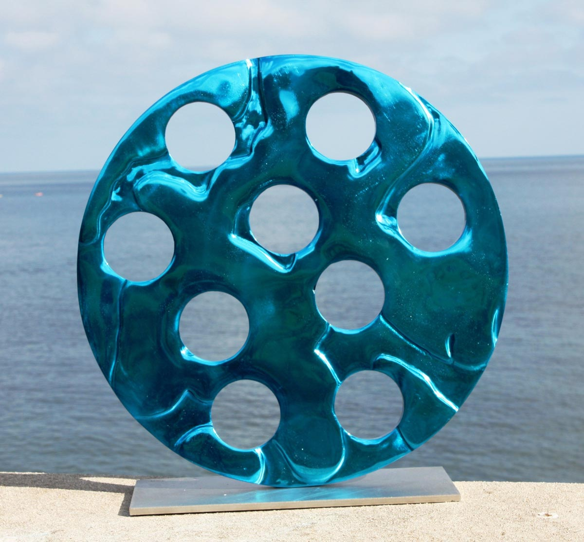 Ocean's 9 Blue sculpture by Carol Bruton
