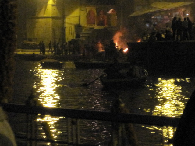 Approaching the funeral pyres by boat