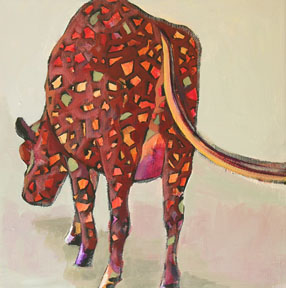 abstracted painting of a cow