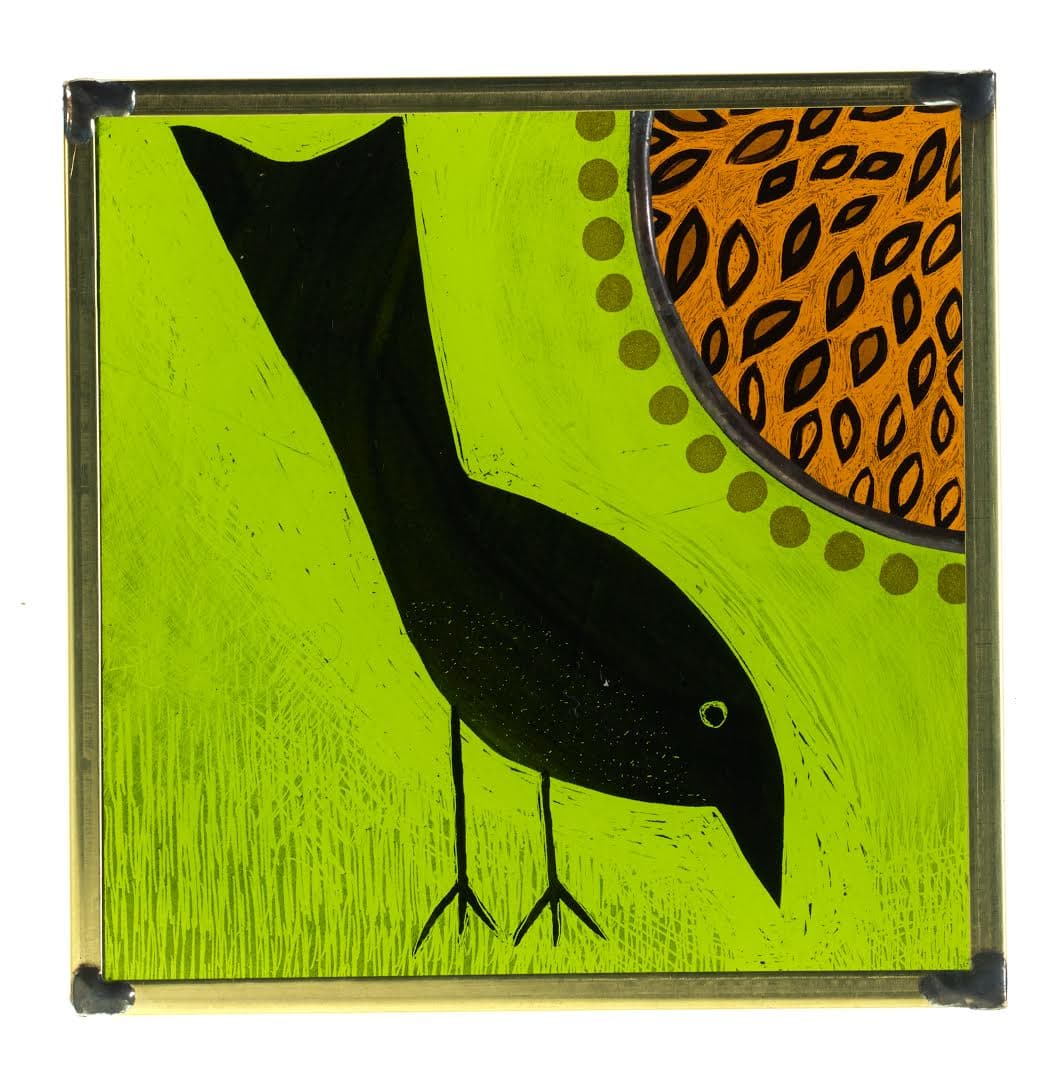 Glass Painting Wee Bird 1 11cm x 11cm