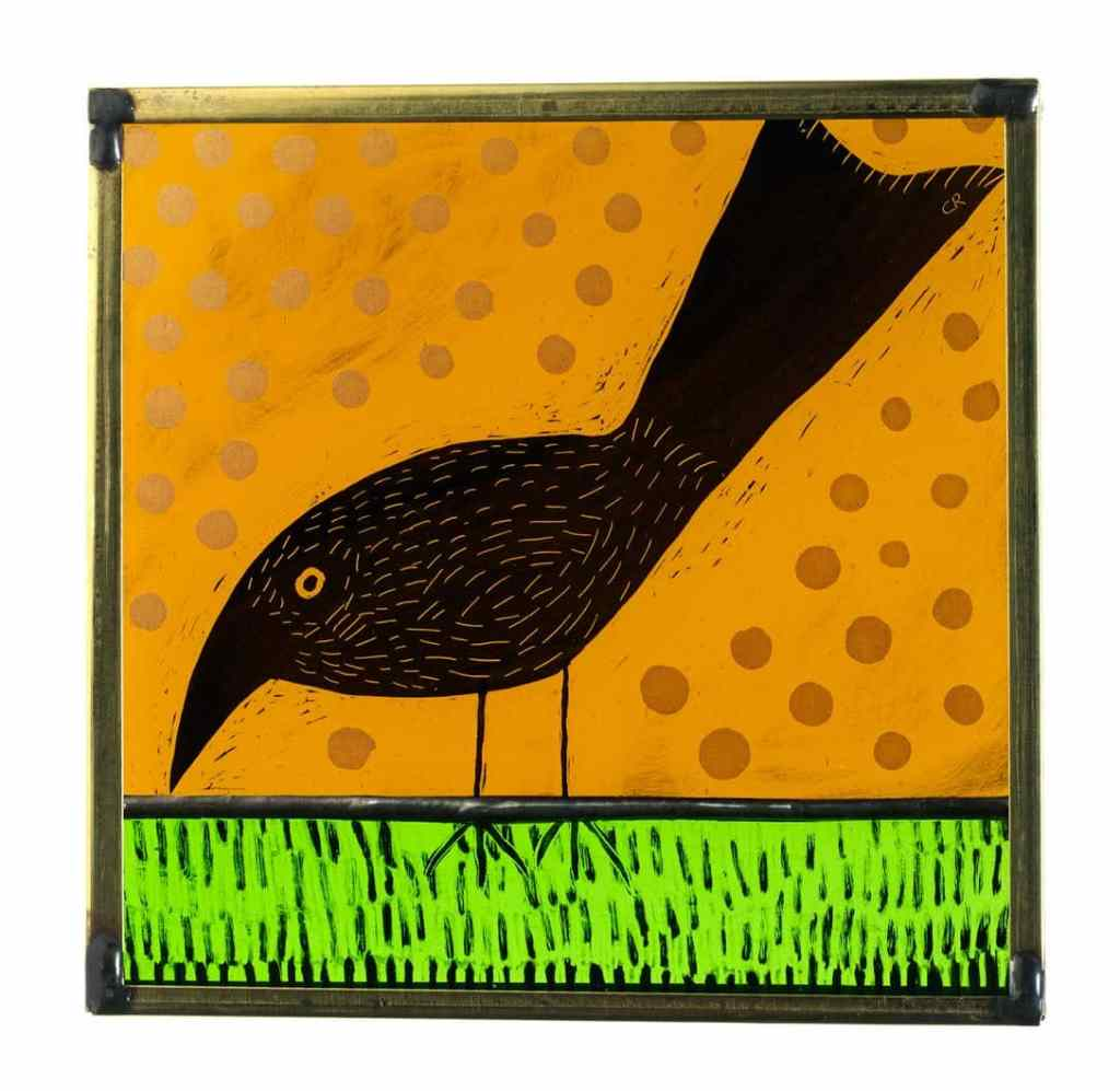 Glass Painting Wee Bird 2 11cm x 11cm