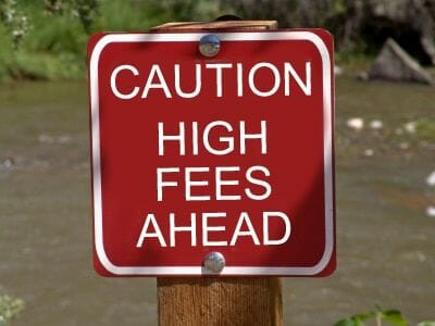 caution high fees ahead sign