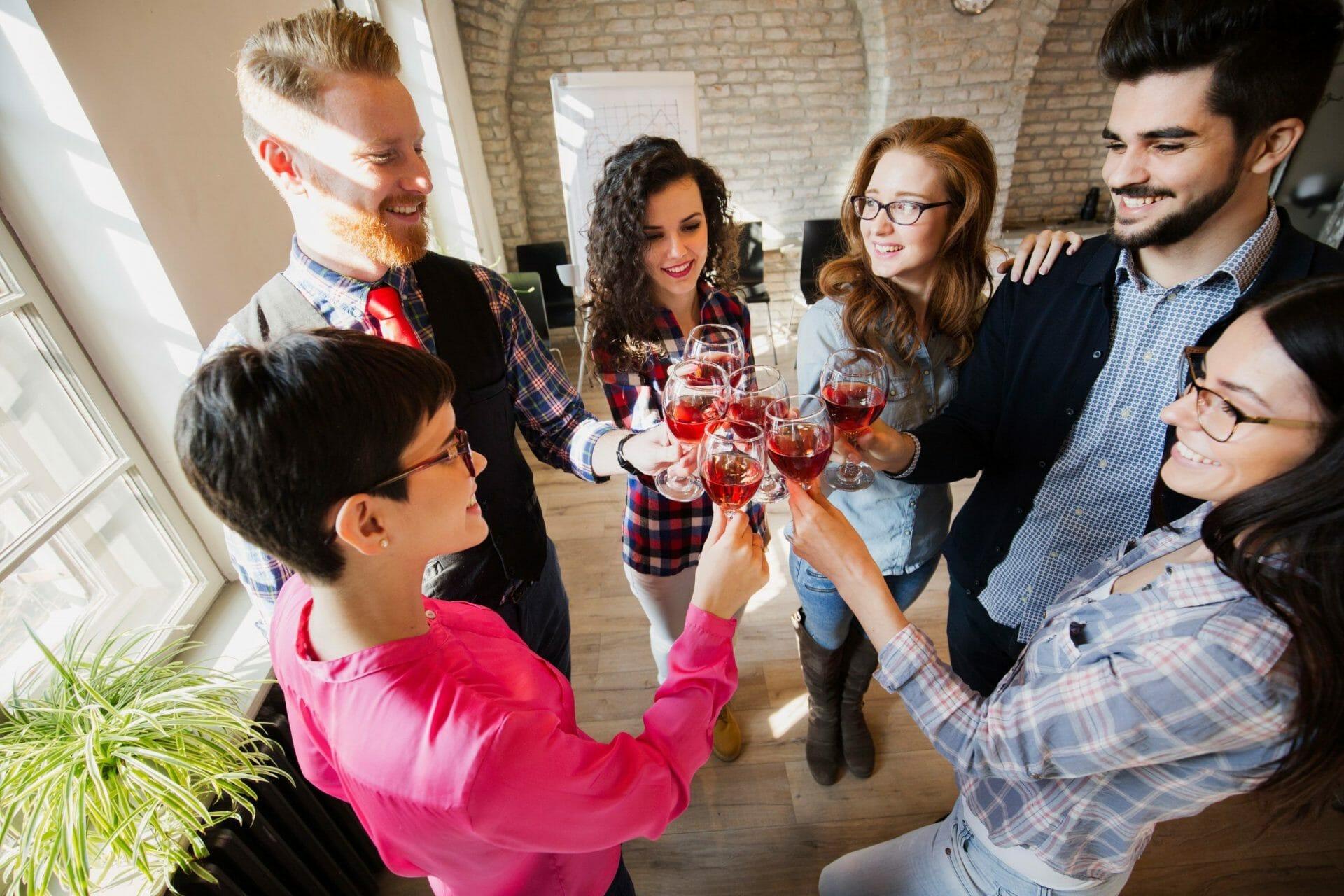 group celebrating