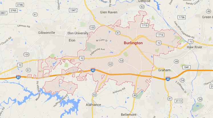 burlington nc map