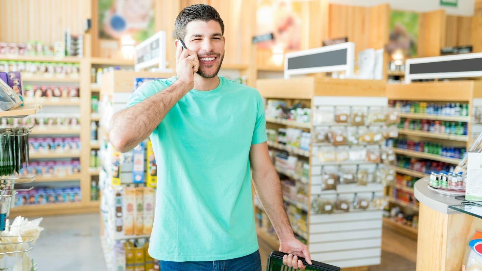 queue callback - man on phone in line