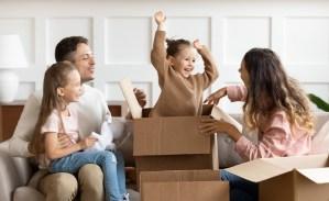 Family Enjoying Moving