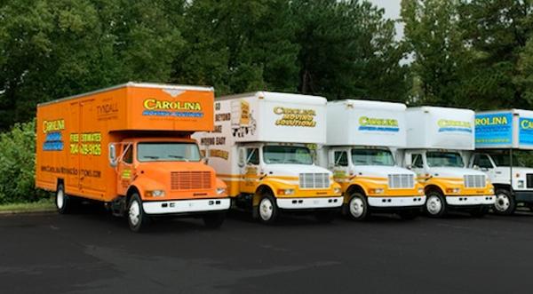 Fleet of Carolina Moving Solutions Trucks