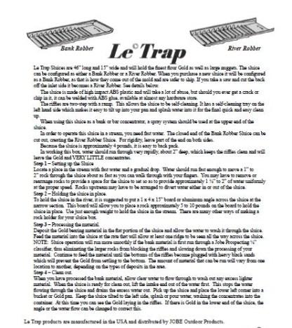 Le Trap Sluice River Robber