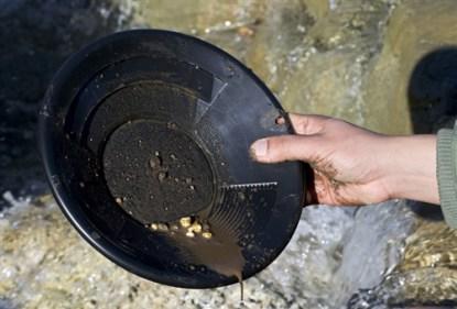 "8"" Gold Pan, Dual Riffles - Black"