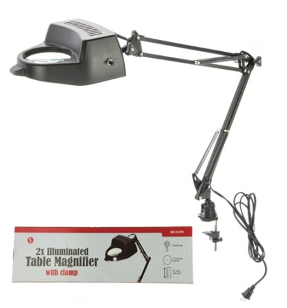 """2x-Swing Arm Magnifying Lamp with Clamp, 4"""" Dia Glass Lens (Black)"""