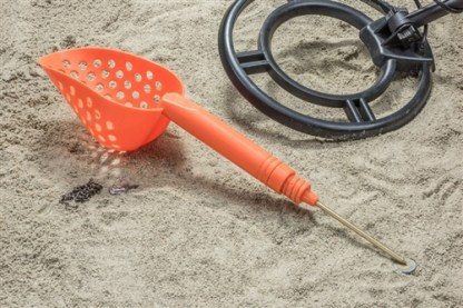 """14"""" Sand Scoop with Hole & Brass Probe For Gold Panning /Metal Detecting, Orange"""