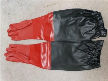 "2Pc - 24"" Arm Length Gold Panning PVC Gloves w/ Sandy, Textured Grip"