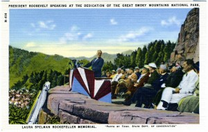 A postcard issued around 1940 captured President Franklin D. Roosevelt speaking at the dedication of the Great Smoky Mountains National Park. The postcard is now housed in the North Carolina Postcard Collection at UNC-Chapel Hill. Click to view full-size image.