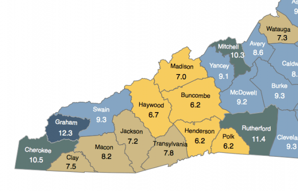 August 2013, unemployment rates across Western North Carolina. Map courtesy of the N.C. Department of Commerce.