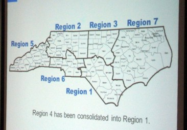 A map of six proposed Medicaid provider regions was displayed at the meeting Thursday. Image via NC Health News. Click to view full-size image.