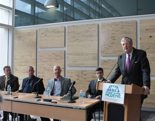 NC Department of Natural Resources division chiefs (left to right) Dexter Mathews, Tom Reeder and Tracy Davis and communications director Drew Elliot look on as Secretary John Skvarla reviews the department's efforts on coal ash at a press conference Wednesday in Raleigh. Kirk Ross/Carolina Public Press