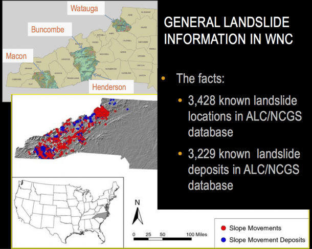 Image detail from a presentation by Appalachian Landslide Consultants on Western North Carolina landslides.