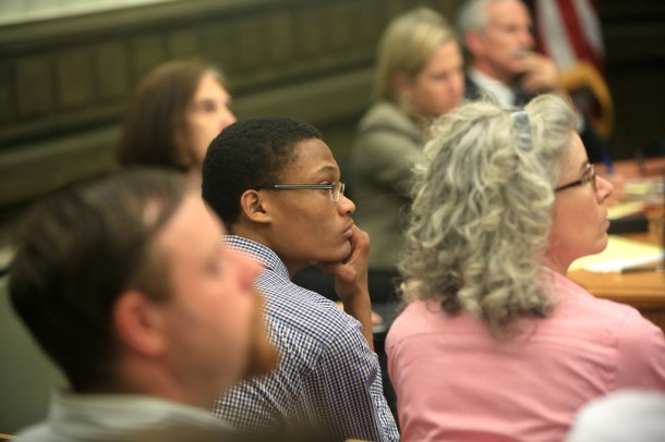 Terrell Mwetta listens in on the meeting. Mwetta is a high school student in Asheville and is currently an intern for City Manager Gary Jackson. More than 50 people attended the worksession on Tuesday. Colby Rabon/Carolina Public Press