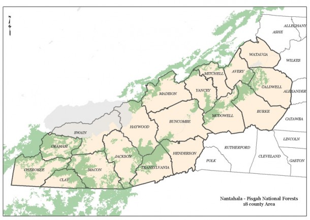 Map of the Pisgah and Nantahala national forests in Western North Carolina. Map courtesy of the U.S. Forest Service