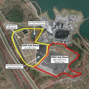 Coal ash ponds and basins at Duke Energy's Asheville plant. Duke Energy graphic