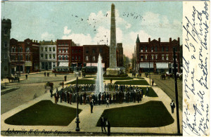 Postcard of Pack Square in 1904