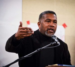 Darin Waters, one of the monument drive's main organizers, speaking at an MLK Day event last month. Photo by Max Cooper, courtesy of the Asheville Blade.