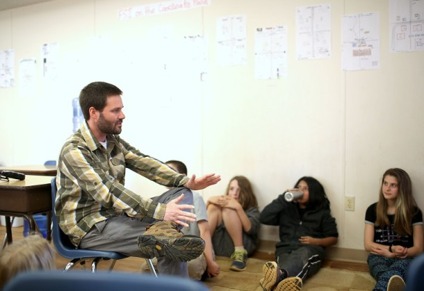 Sixth-grade teacher Charlie Keller meets with his Crew on Wednesday afternoon, March 23, 2016, and Franklin School of Innovation. Crew meets every day after recess. Colby Rabon / Carolina Public Press