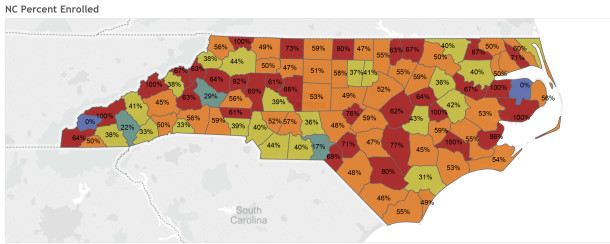 Percentage of students by county who enrolled at N.C. State University after being admitted. (Source: N.C. State University)