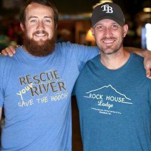 Corey McCall, left, and Rob Gasbarro own Outdoor 76, an outfitter on Main Street in Franklin.
