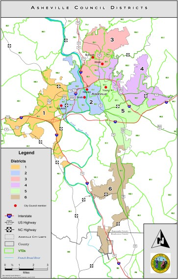 Click to view full-size image of proposed Asheville voting districts.