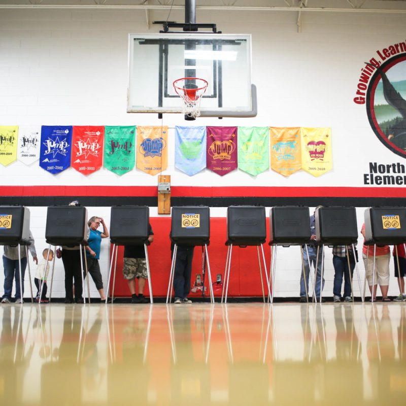Voters cast ballots at a precinct in Weaverville on Election Day. Colby Rabon / Carolina Public Press