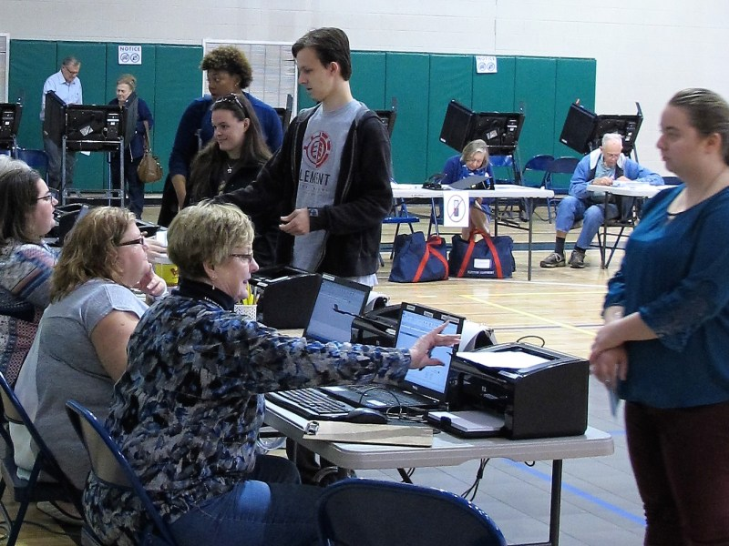 Jackson County poll workers check in voters at the Recreation Center in Cullowhee on Tuesday. Frank Taylor / Carolina Public Press