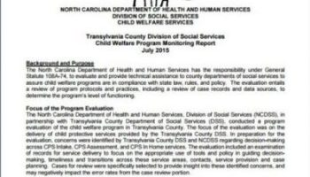 Final report from a state DHHS review of Transylvania County Child Protective Services.