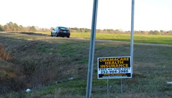 Sign advertises Obamacare signups.