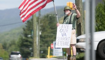 Vietnam veteran Bob Feldman protests against proposed changes to the VA