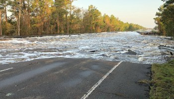 Water flowing across U.S. 421 in Pender County.
