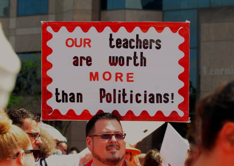 Teacher marches at rally in Raleigh on May 1, 2019