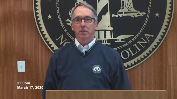 Dare County Manager Robert Outten releases a video Tuesday afternoon announcing the county is closing its borders. Screengrab from Dare County government website.