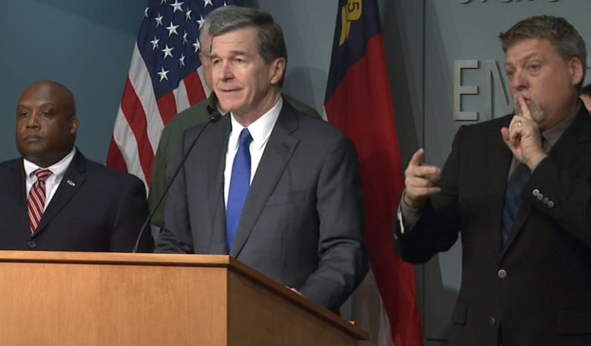 Gov. Roy Cooper discusses the state's response to coronavirus during a press conference on Saturday, March 14, 2020. Screen grab from UNC-TV.