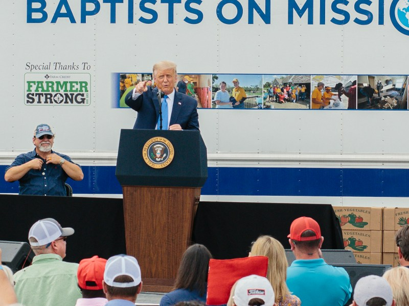 President Donald Trump speaks at Flavor 1st Growers and Packers in Mills River on Monday, August 24, 2020. President Trump delivered remarks on the Farmers to Families Food Box Program after touring the Flavor First facility. CREDIT: Jacob Biba for Carolina Public Press