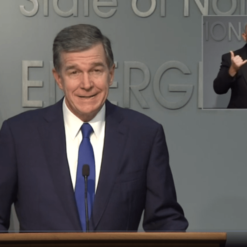 NC Gov. Roy Cooper speaks about the closure of UNC and COVID-19 precautions at an Aug. 19, 2020, press conference.