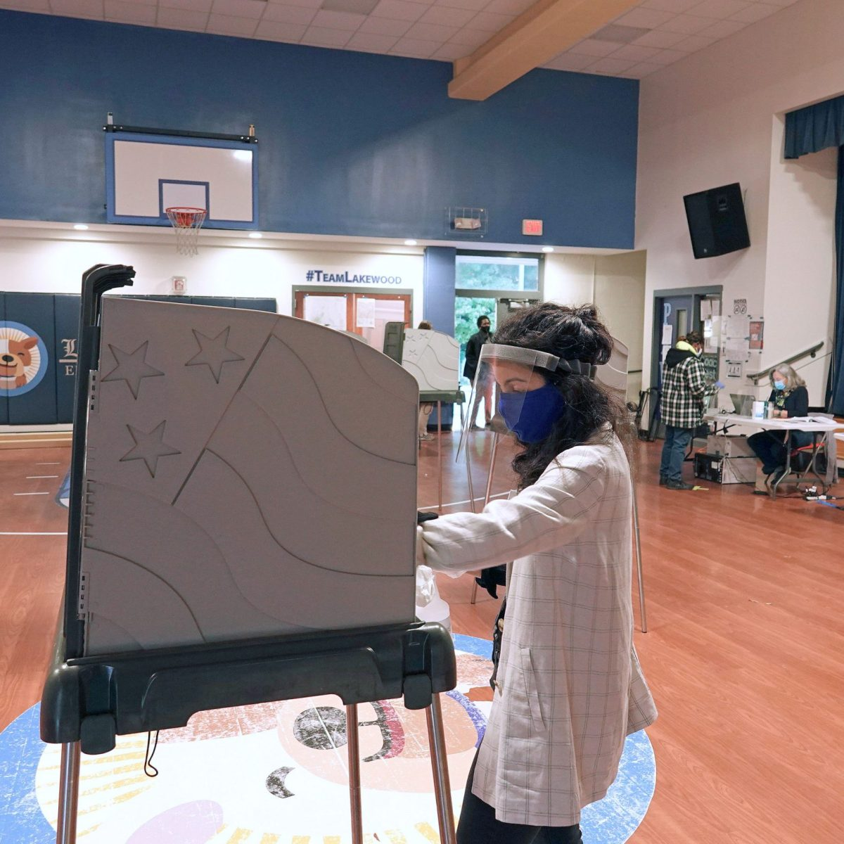 Poll worker at Lakewood Elementary School