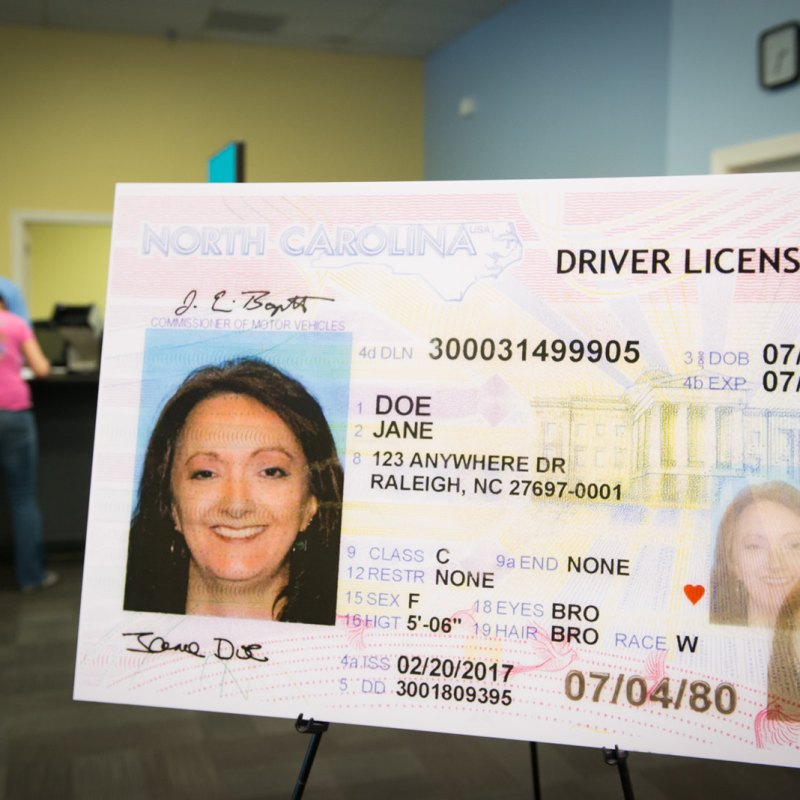 Poster sized NC driver's license